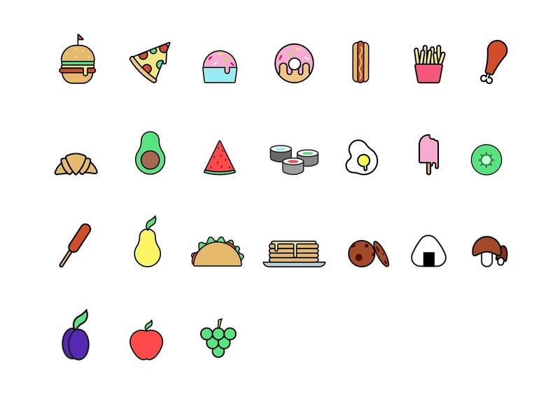 Food icons vector design illustration flat cookies pancakes sushi avocado plum donut apple pizza hamburger icon food
