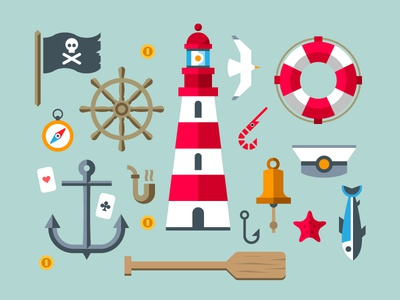 Sailor set flag pirates coin compass anchor pipe playing cards paddle beacon bell circle seagull