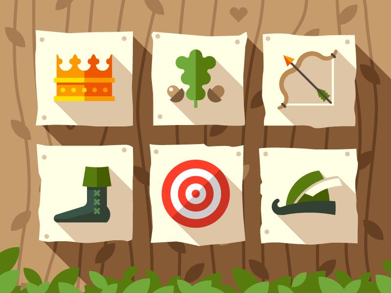 Robin hood  robin hood flat icon arrow bow target hat forest king crown money