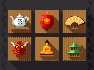 China china lantern hat rice wall buddha dragon fan tea east
