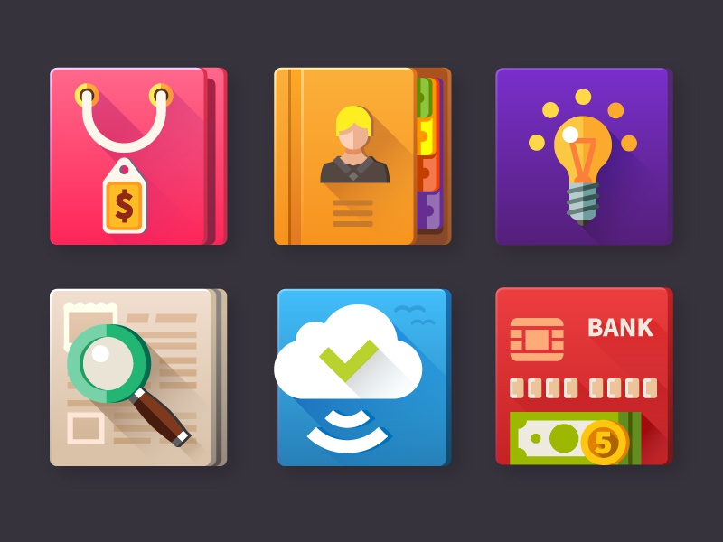 Marketing icon set marketing contacts idea light bulb bank card search cloud shopping flat icon cute