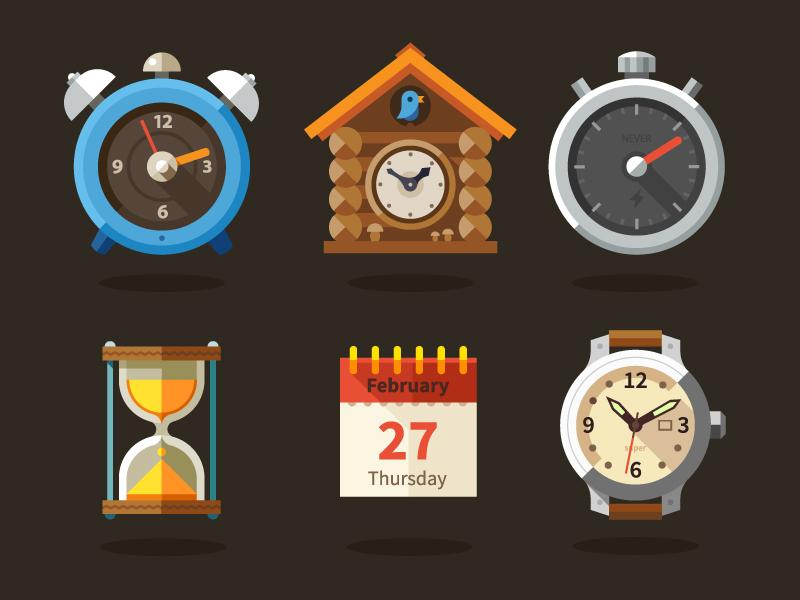Time time cuckoo house arrow clock sand sun future flat icon alarm
