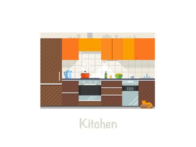 My kitchen kitchen cook cat orange food pot kettle fridge beer furniture tableware