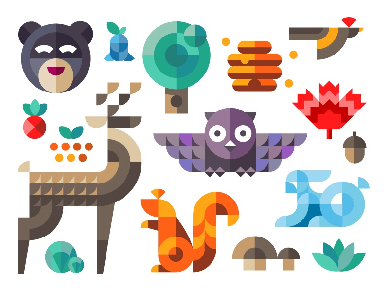 Magic forest geometric forest squirrel owl deer rabbit tree bear acorn nuts flat icon