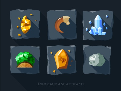 Artifacts icon set - 1 gold crystals claw dinosaur tile moss green amber mosquito meteorite quartz old