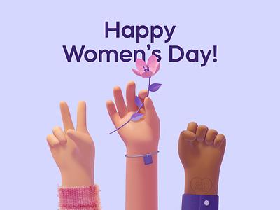 Women's Day flower girlpower woman womensday blender3d illustration 3d art 3d