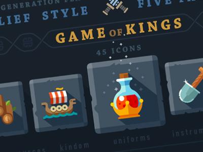 Game of kings, 45 icons. games king mana health instruments wood gamer kit flat cute