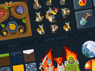 Viking adventure, big game kit viking game gui tiles sprites background icons color flat