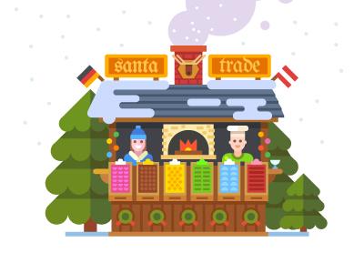 Weihnachtsmarkt christmas europe flat happy new year love market santa tree