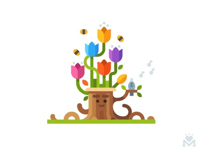 IWD 8 march stub flowers tulips games character tree plant gift greeting