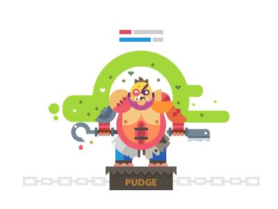 Pudge, Dota 10 pudge dota play game flat color hook strong hero butcher