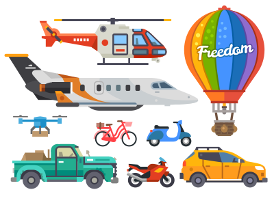 Transport set city building baloon auto transport vector flat bicycle motorcycle airplane truck motorbike