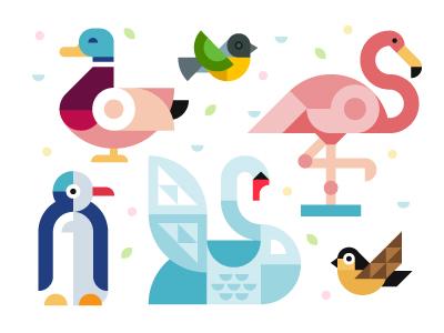 Villa belparc, graphic identity identity flat fly pinguin sparrow flamingo swan duck color geometric birds