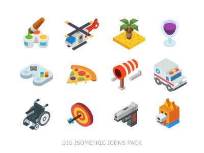 Isometric, 99 icon pack flat isometric icon creativity weather food security recreation transport technology medicine business