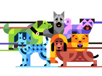 Waf!  walk park puppy dalmatian pug shepherd dachshund illustration vector geometric dogs