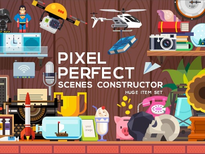 PIXEL PERFECT scene constructor - huge item set objects food generator mockup illustration icon vector flat creator scene background header