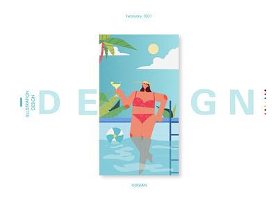 A torrid summer swim summer illustration