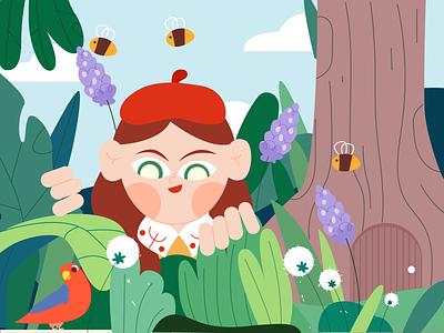 Discovery in spring girl spring illustration