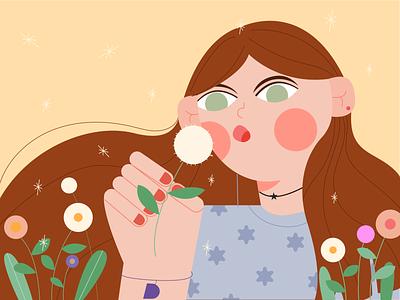 Dandelion girl-Women's Day dandelion girl spring illustration