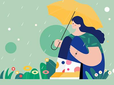 Qingming Festival rain spring girl illustration