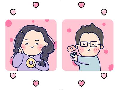 Portrait of lovers cute art lovely illustration