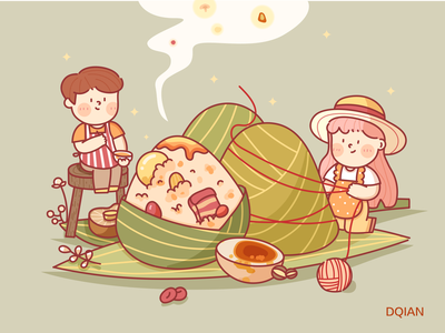 The Dragon Boat Festival summer illustration