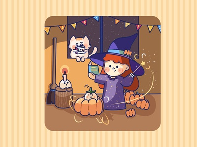 little  witch kitty cute art illustration witch