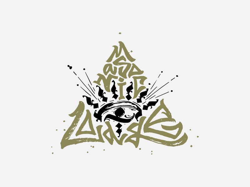 MASONIC LODGE / print for sale sign logo delta triangle for sale gothic lettering design ligature calligraphy mark print vector illustration typography orb optic eye lodge masonic