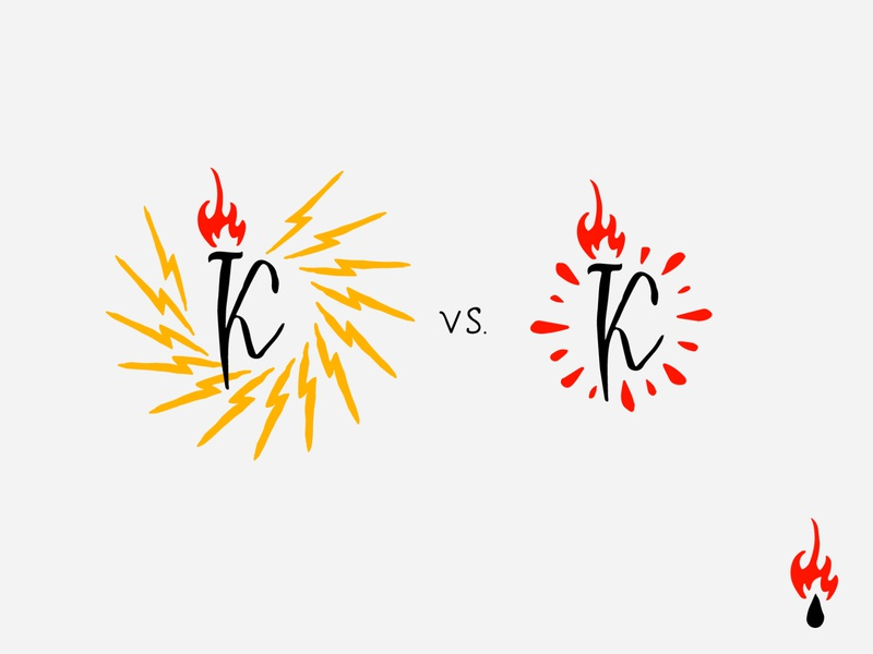 """LETTER """"K"""" WITH TWO OPTIONS   / logo for personal clothing brand lightning type sign redesign logotype logo mark lettering design print vector typography energy blood red drop flame illustration calligraphy"""