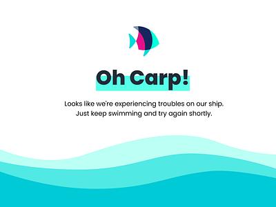 Plenty of Fish Error Page highlight blue branding fish ocean logo web design waves pun 404 error 404 page error page error