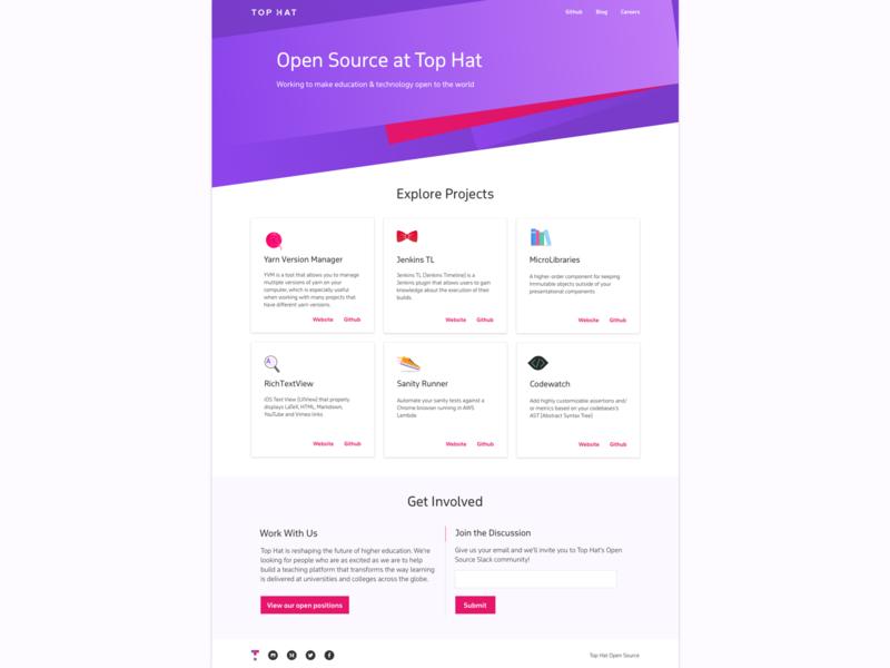 Top Hat Open Source Portal github gradient web design top hat open source purple pink bowtie website logo icon web branding design