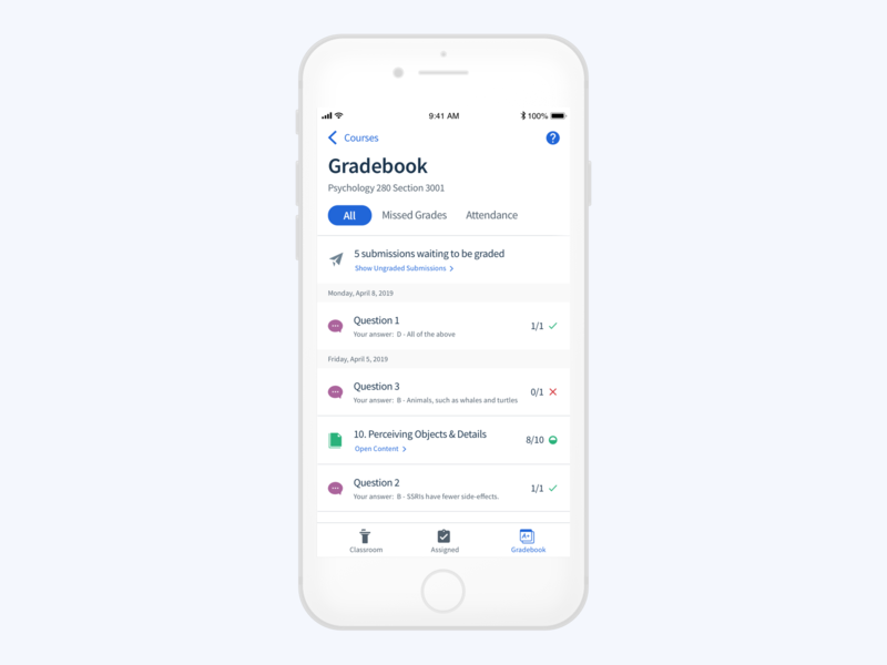 Mobile Gradebook school question filters list mobile gradebook student grades ios ui edtech ux design university education app top hat