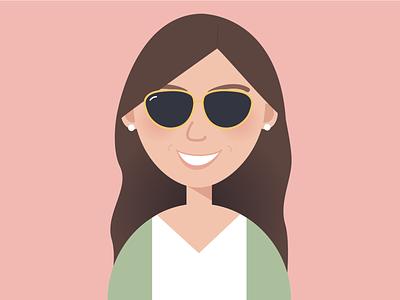 My Avatar blush profile drawing smile hair girl flat shades sunglasses rayban emoji bitmoji personal face woman avatar illustration