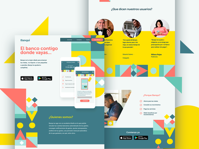 banqui homepagedesign squares landing page design banking landing page