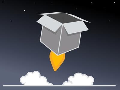 Box Rocket stars blast off rocket box logo vector icon illustration