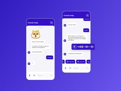 Charlie bot message chatbot chat ux app minimal design ui