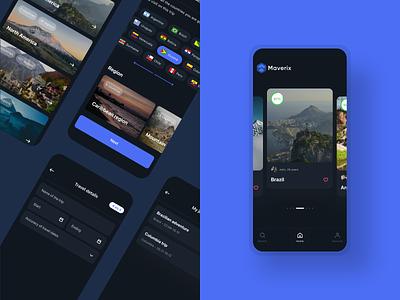 Maverix travel app ux minimal design ui