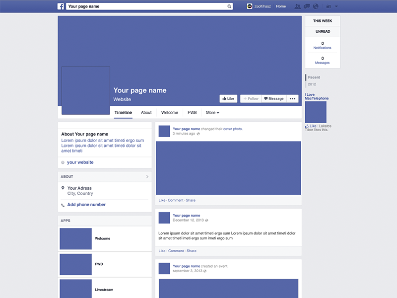 Facebook Page Mockup facebook mockup template download blue psd