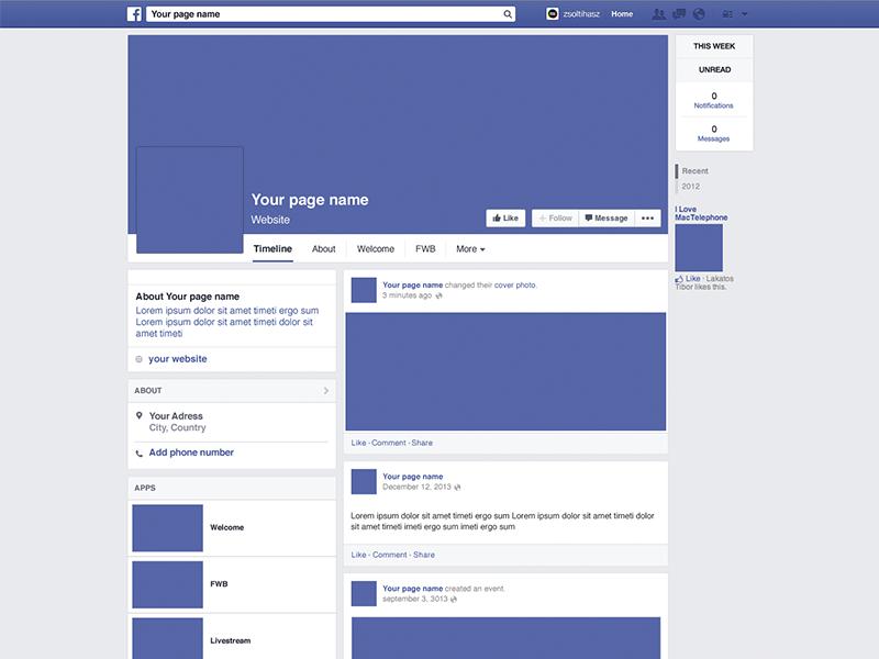 Facebook Page Mockup facebook mockup template download blue psd