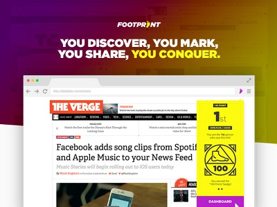 Footprint Browser Extension userinterface ui identity website chrome purple yellow extension