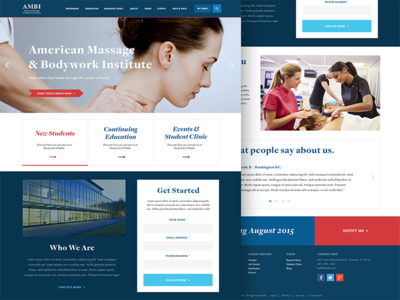 Massage School Website collage education school blue navy red splash landing page website web design ui