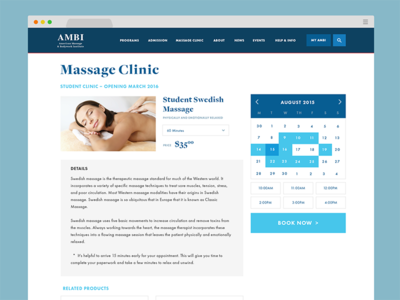 Online Booking Page online ecommerce shop clinic student available calendar ui massage reservation appointment booking