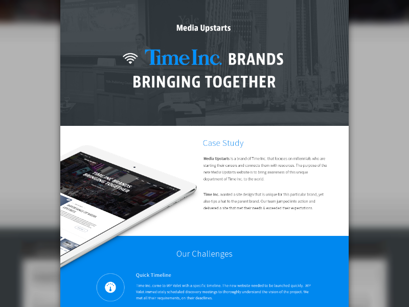 Case Study layout flat ipad time media landing page web ui case study made with invision
