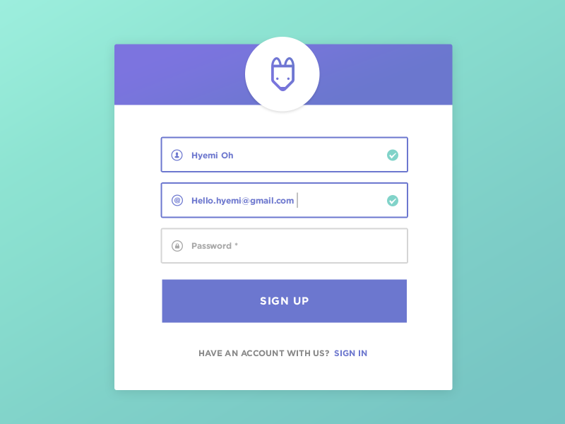 Daily UI 001 - Sign Up minimal flat button fox login interactive ui form signup dailyui