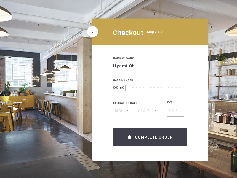 Daily UI 002 - Credit Card Checkout modern credit card shop ecommerce minimal flat checkout interactive ui form credit dailyui