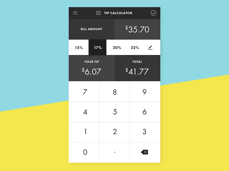 daily ui 004 tip calculator by hyemi oh dribbble