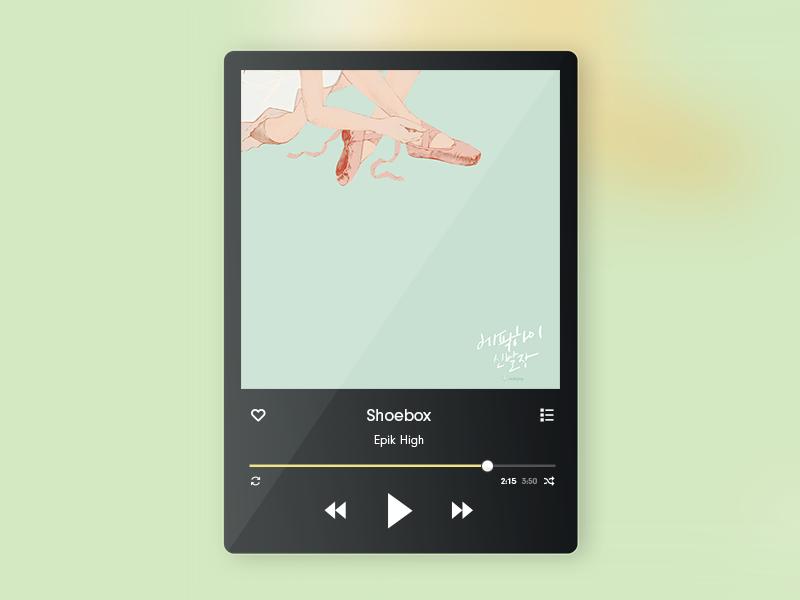 Daily UI 009 - Music Player gloss shoebox 009 player flat button interactive ui music dailyui widget