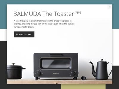 eCommerce Shop toaster balmuda 012 cart minimal flat button interactive ui ecommerce shop dailyui