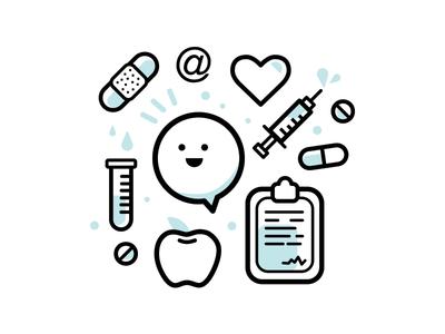 Healthcare Icons illo illustration apple bandaid pill hospital healthcare pattern vector icons health