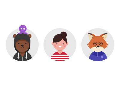 Friends Avatar avatar icon fox octopus bear friends